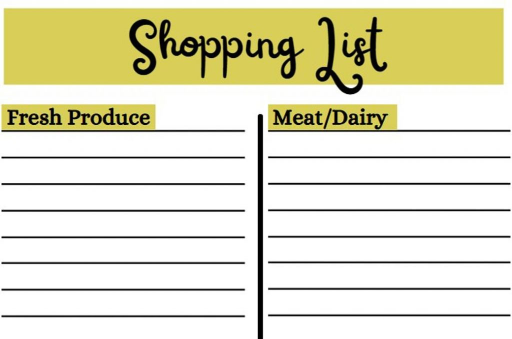 meal planning for beginners shopping list