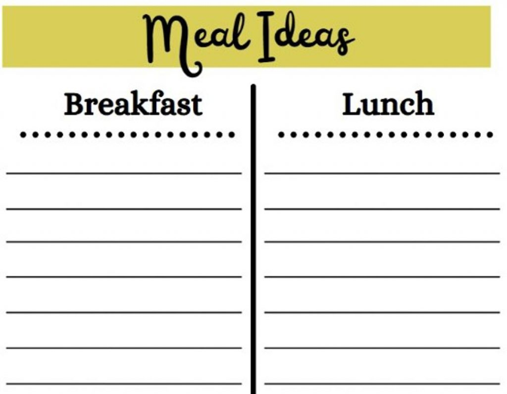 brainstorm ideas for learning how to meal plan as a beginner