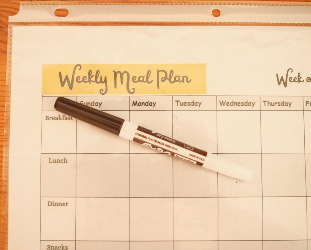 use plastic sleeve to reuse for meal planning