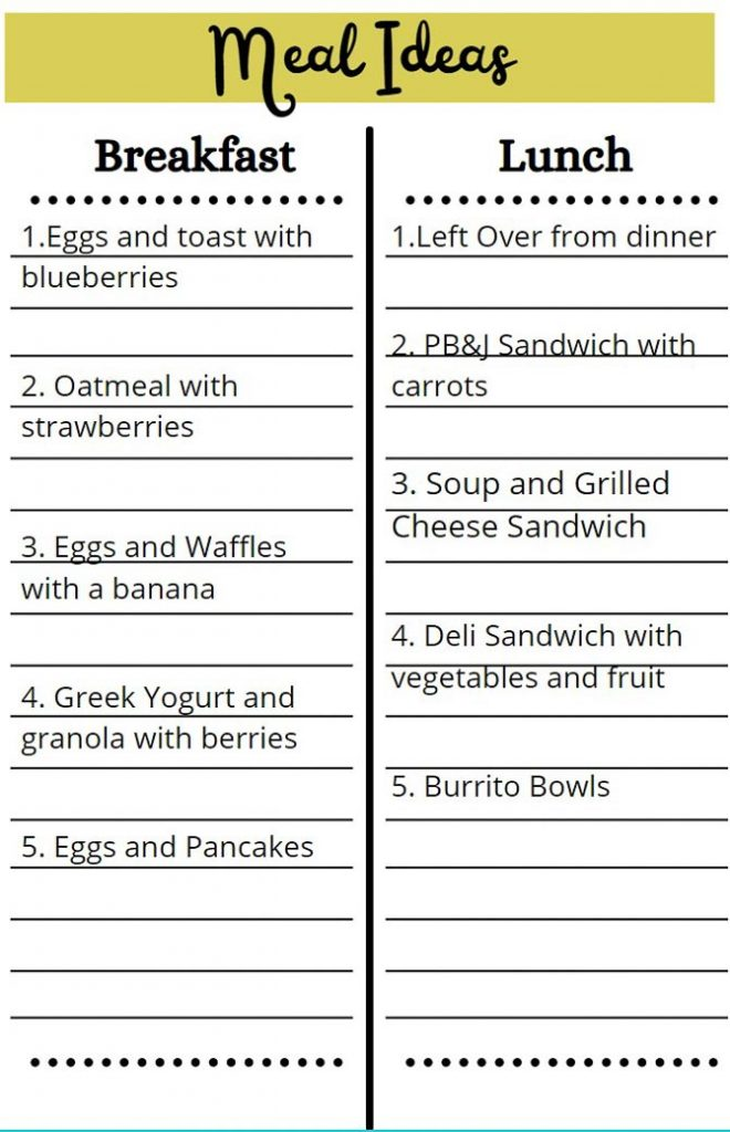 example of brainstorming for meal planning for beginners