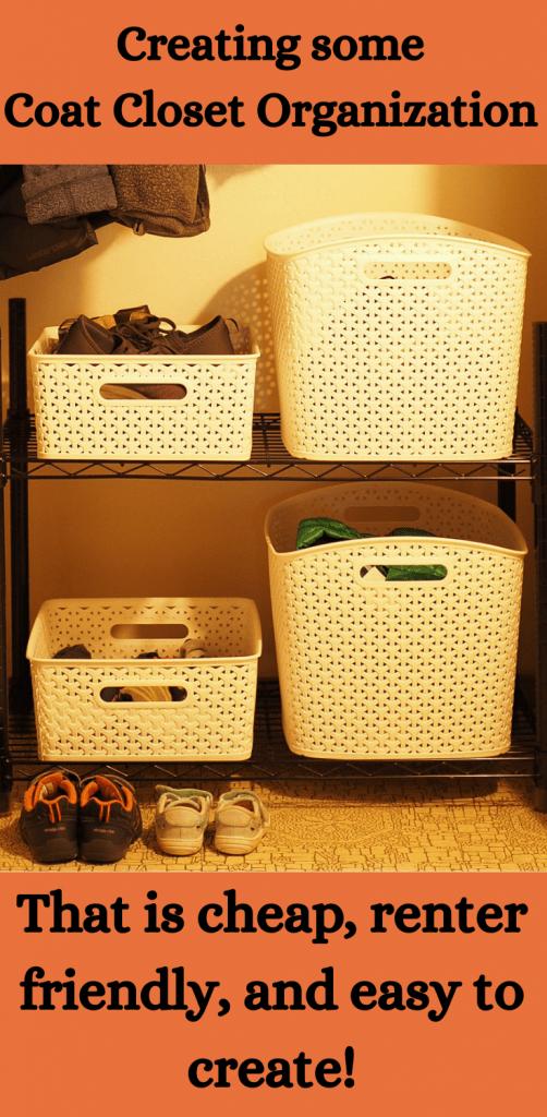 Pinterest image for coat closet organization