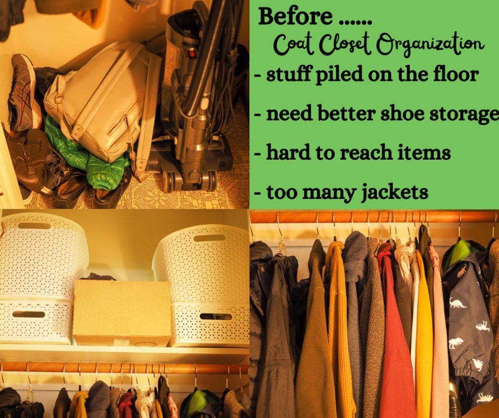 before organizing the coat closet