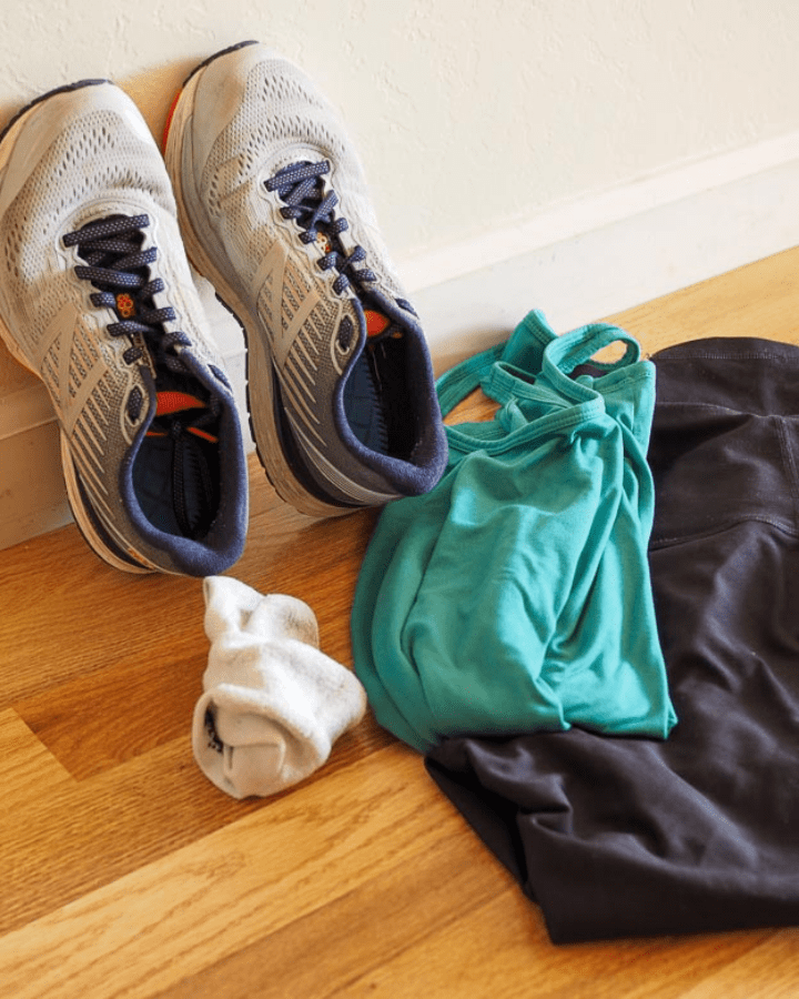 pile of stroller fitness workout clothes