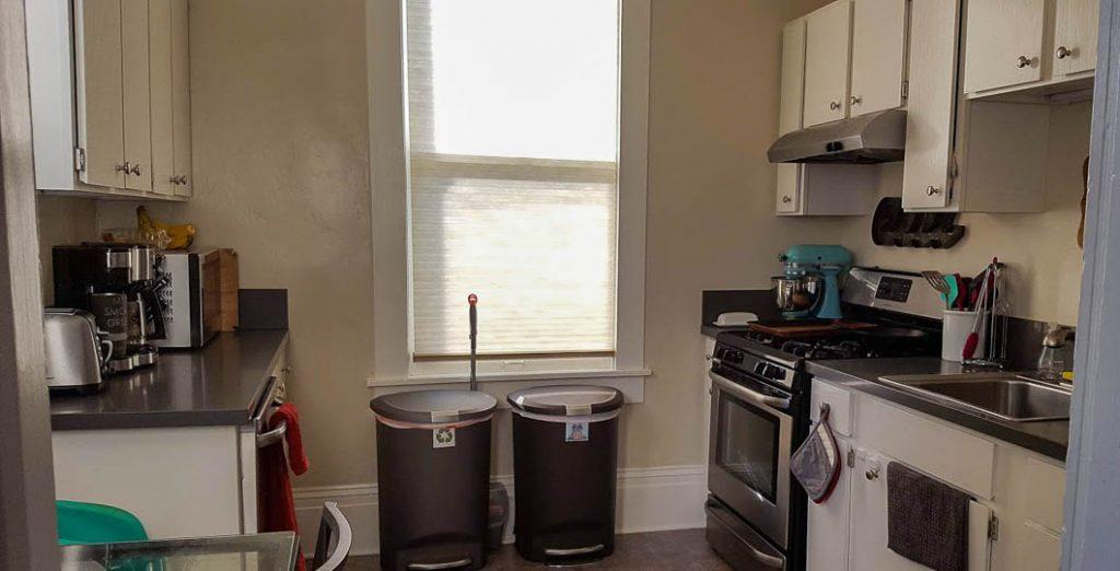 cluttered kitchen before adopting a minimalist kitchen
