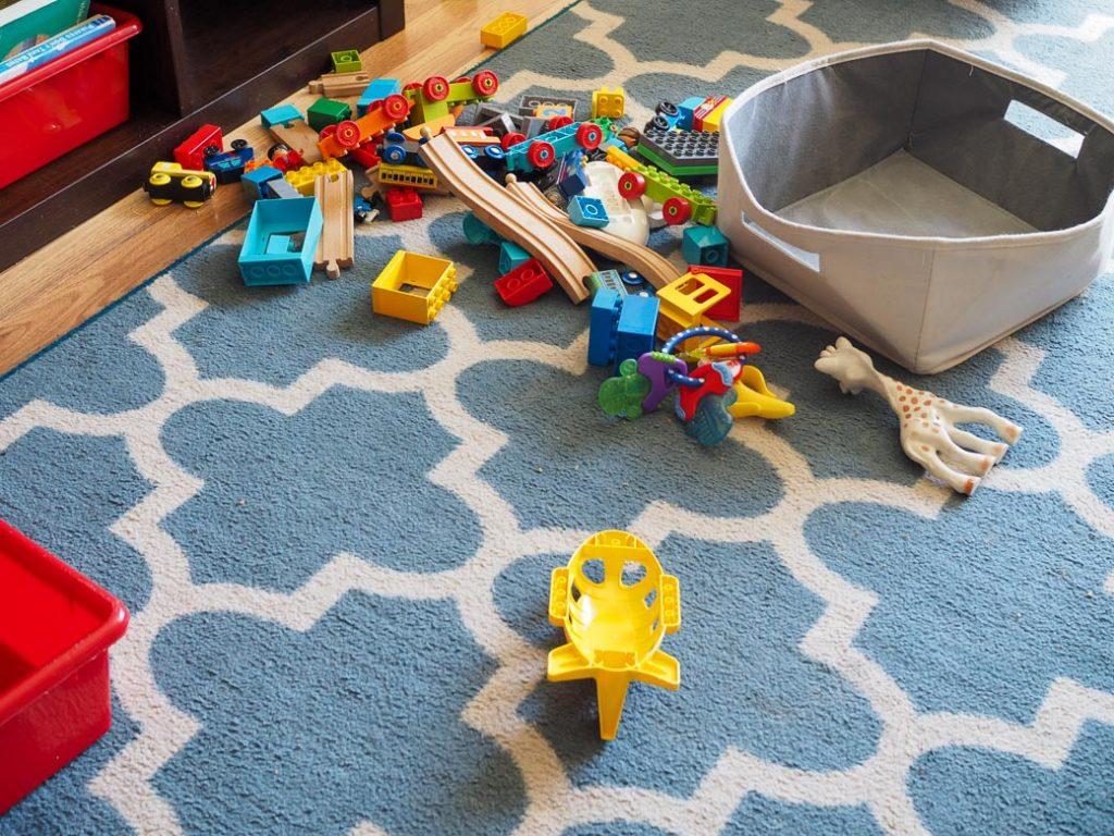 toys dumped on the foor