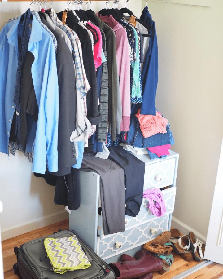 messy closet before a declutter