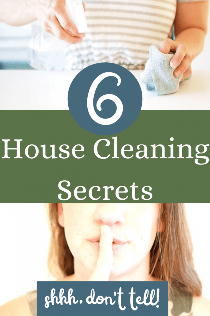 women cleaning with the words 6 best kept house cleaning secrets for a clean house, shhh, don't tell