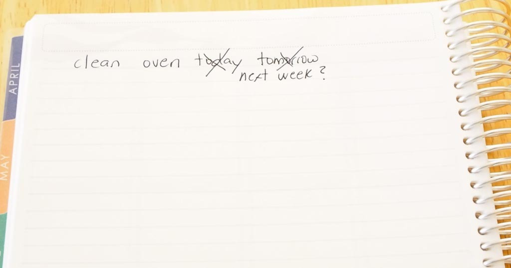 list of chores like cleaning the oven