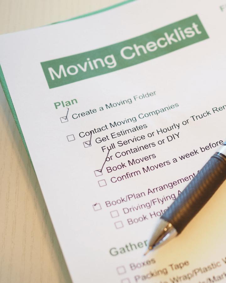blank moving checklist