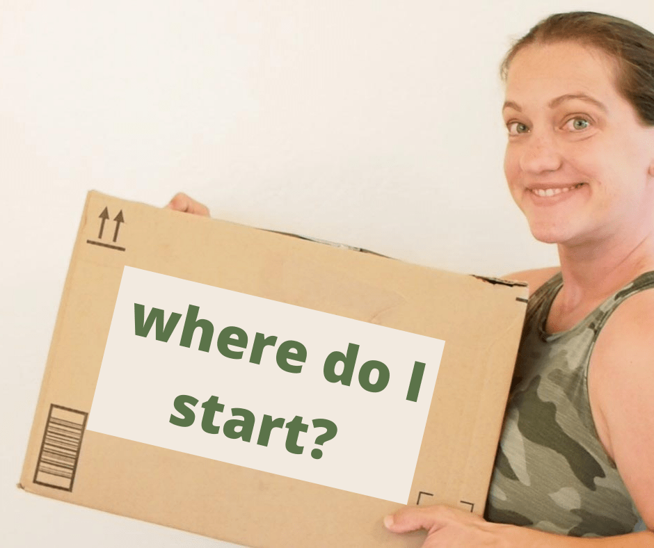 """women holding a brown box that says, """"where do I start"""""""