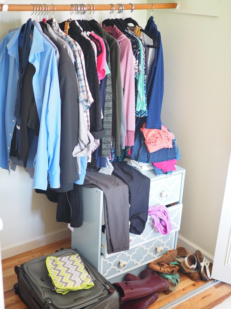 messy closet of clothes