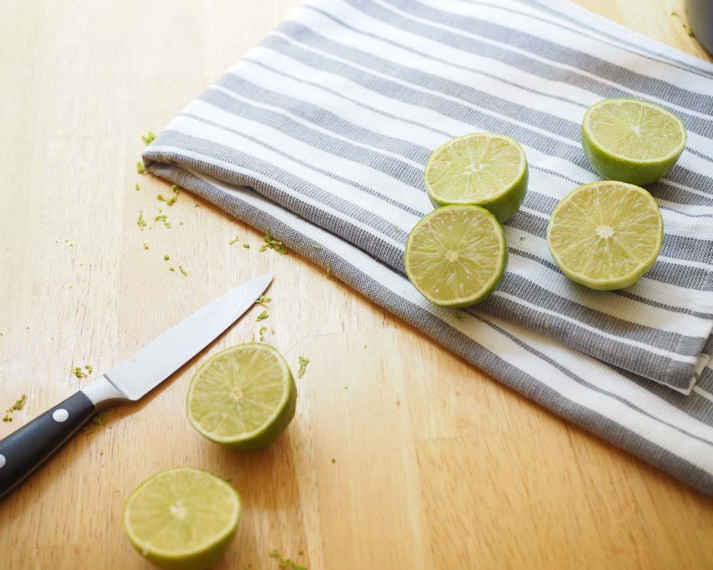 a knife with a dozen cut limes