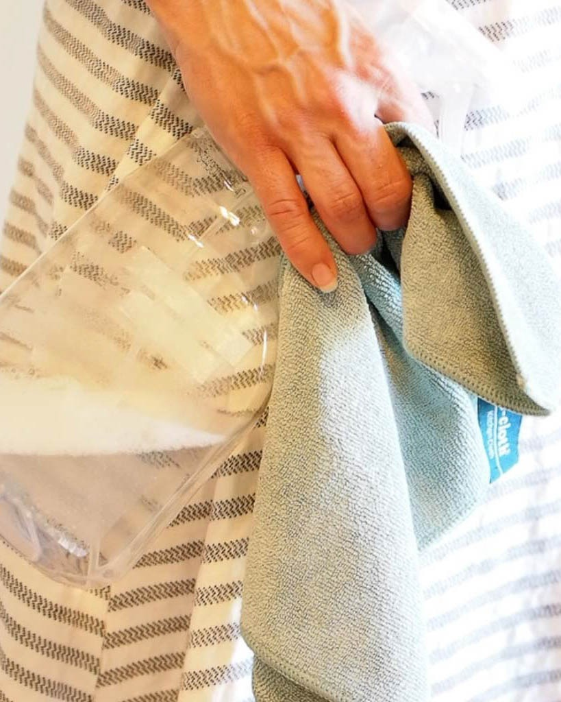 women holding a cleaning cloth and spray bottle